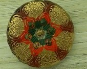 """Czech Glass Button Christmas Red Burgandy Green Gold Floral Star 27mm 1"""" 1 inch sewing knitting crafts jewelry"""