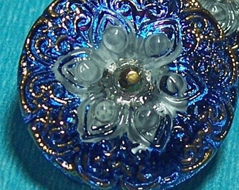 Czech Glass Button Blue and Gold Mosaic Knitting Sewing Button Shank 27mm