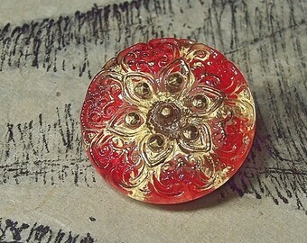 Czech Glass Button Cherry Red with Gold Star / Flower Sewing Wire Shank European