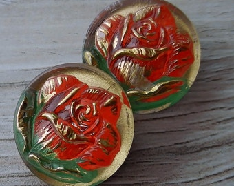 Czech Glass Buttons Little Briar Rose 18mm Red Rose Green Leaf Art