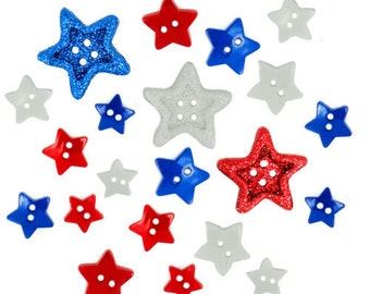 Stars Buttons Sewing Crafts Novelty American Flag Red White Blue Jesse James Embellishments