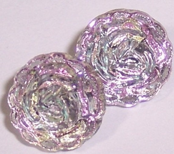German Glass Buttons Vitrail Light  Pink Diminuitive Doll Clothing Crafts