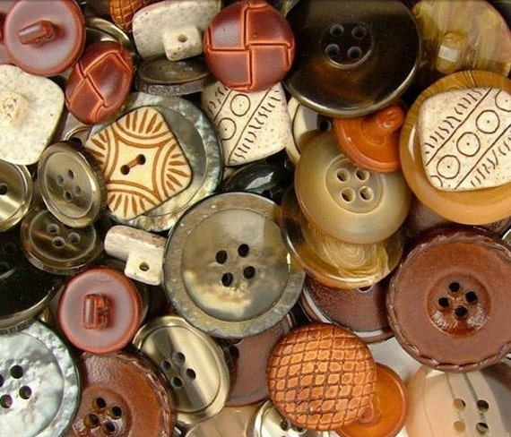 Bulk Buttons Haberdashery Classic Natural Neutral Brown Grey Gray Button Mix Assortment Lot