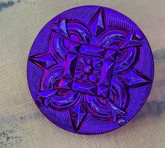 Czech glass button - Compass- Blue - Purple / Violet