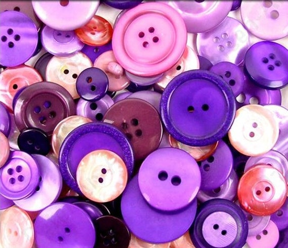Assorted Buttons Purples Purple Mixed Buttons Haberdashery Button Collection Assortment Amethyst Violet Lavender Plum