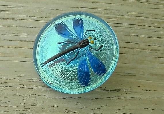 Iridescent Blue Dragonfly Czech Glass Button