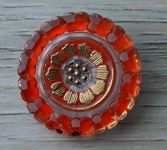 Czech Glass Buttons Poppy Flower Blossom Bloom Red Orange 23mm