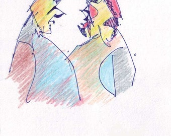 Postcard No. 54 - Two men in profile - printed card