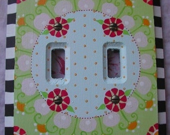 """Switch Plate One of  Kind Hand Painted Art Double Light Switch  """"MARIE"""""""