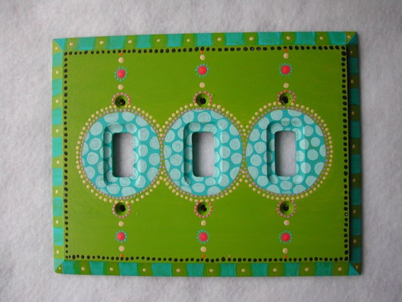 Triple Toggle Switch Plate Hand Painted Green And Turquoise