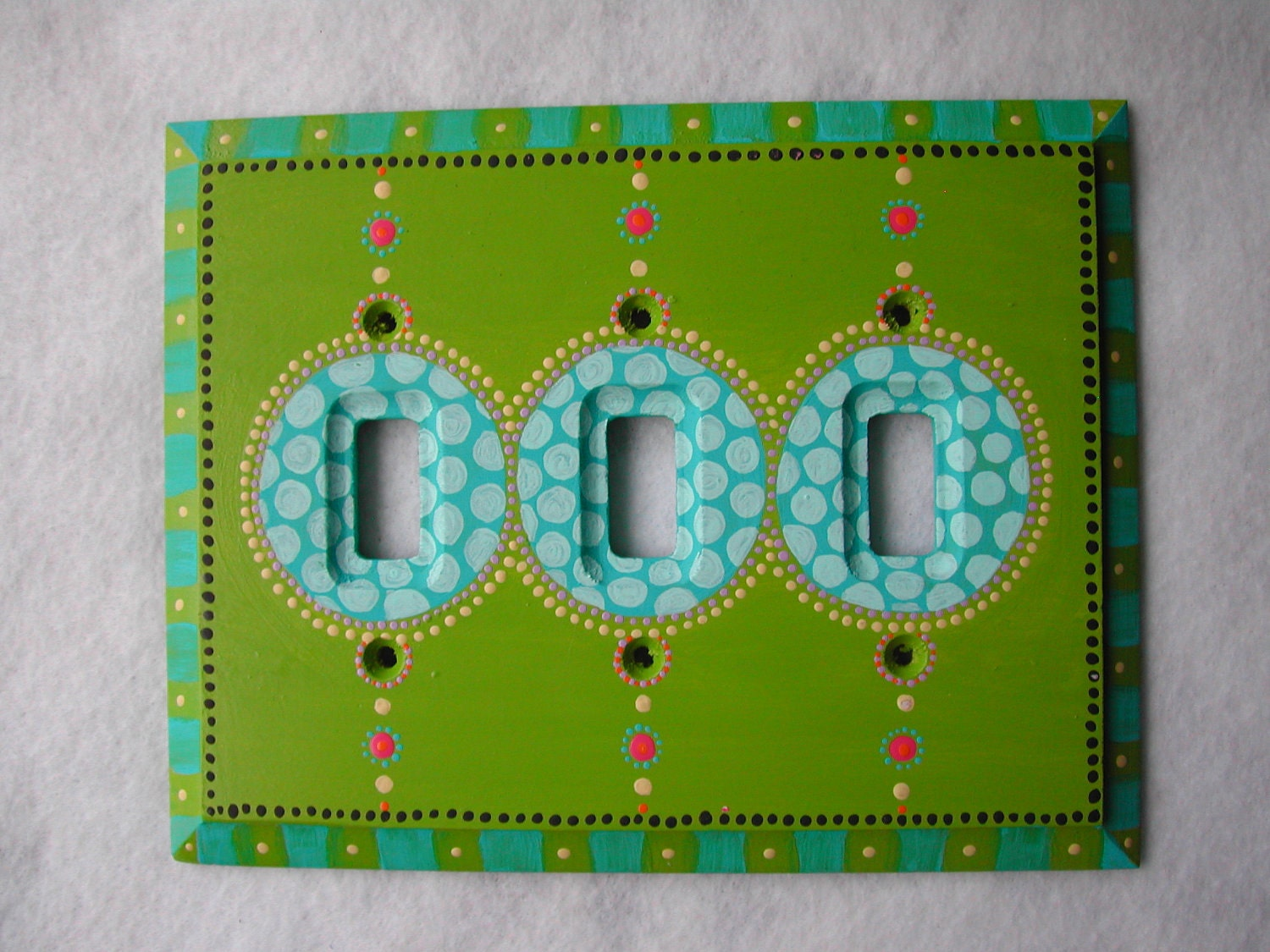 triple toggle switch plate hand painted green and by