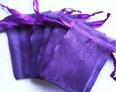 Purple Organza Bags  set of 100 bags 4 x 6inch favor bags Sachets handmade soap, bath salt, beads, herbs, favor bag, wedding, sample