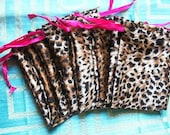 """100 Soft Satin leopard Print Drawstring Pouch 4"""" x 5"""" for Jewelery soap herbs buttons favor bag"""