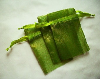 Moss Green Organza Bags / favor bags set of 25 bags 3 x 4inch Great for handmade soaps, herbs, tea, jewelry etc.