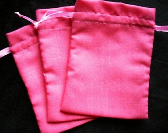 "50 Pink cotton drawstring Pouch -5"" wide x 6"" high"