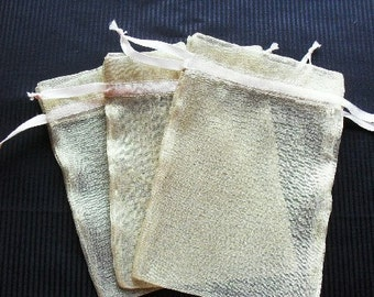 50 Champagne Organza Bags 6x9 inch Great for wedding favor bags handmade soaps, herbs, tea, jewelry etc.