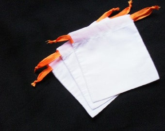 "25 White cotton drawstring Pouch 3.5"" X 3.5"" for stamping jewelry bath salts herbs handmade soap"