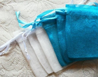 200 Turquoise Blue Organza Bags / favor bags 3x4 inch Great for handmade soaps, herbs, tea, jewelry etc.