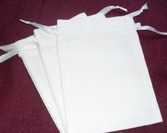 "200 White cotton drawstring Pouch -4"" wide x 5"" high"