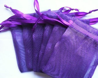 Purple Organza Bags / favor bags set of 60 bags 3 x 4inch Great for handmade soaps, herbs, tea, jewelry etc.