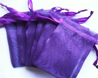 Purple Organza Bags  set of 100 bags 4 x 6inch favor bags Sachets handmade soap, bath salt, beads, herbs, favor bag, wedding, sample