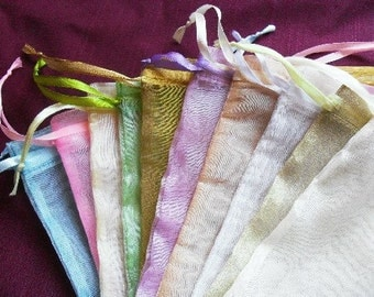 Sale Organza Bags set of 500 bags 3 x 4inch Excellent Quality Mix of light colors handmade soap, beads, herbs, favor bag, wedding, gift bag