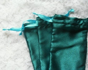 "50 Satin Blue Drawstring Pouch 4"" x 5"" for Jewelery soap herbs buttons favor bag"