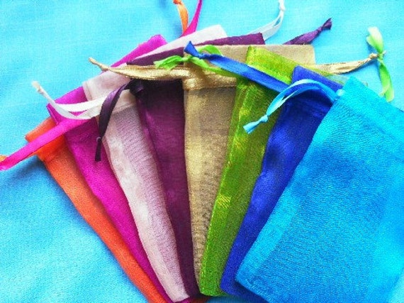 100 Organza Bags  3 x 4 Mix of Minimum 8 colors Sachets handmade soap, bath salt, beads, herbs, favor bag, wedding, sample