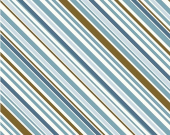 Riley Blake All Star Stripe Fabric in Blue and Brown Beautiful Shades