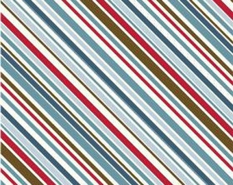 SALE - Beautiful Riley Blake Stripe in Red 1 yard GREAT Fabric Red and Blue Shades