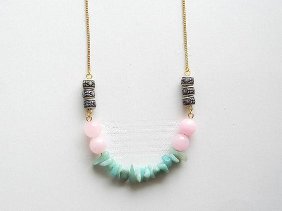 Amazonite Beaded Necklace Modern Tribal Bohemian Fashion Statement on Vintage Brass Chain