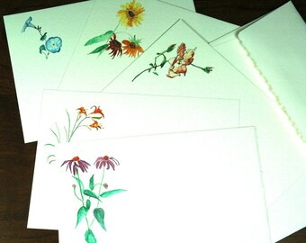 Summer Flower watercolor cards - set of 5