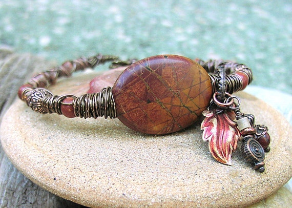 Bracelet Owhyee Jasper Stone  and Wire Charm Bracelet Tribal Wire Collection