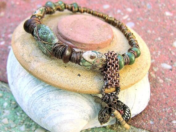 SALE Dragons Blood Jasper  Seraphinite Copper Primitive Tribal  Ladies Bracelet