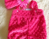 Rose Pink Minky Shortall Romper/Sunsuit and Matching Hat