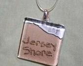 Jersey Shore Beach Writing Glass Necklace