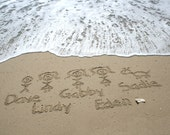 Beach Writing Stick Figure Family of 8  in the Sand at the Jersey Shore YOU PRINT
