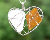 Sea Glass Caged Love Amber Brown and White Heart Necklace Beach Glass