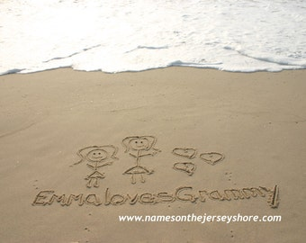 Beach Family Photo Stick Figures in the Sand YOU PRINT