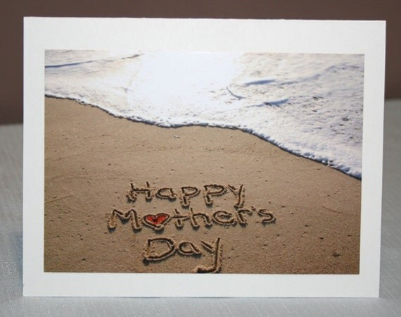 Happy Mother's Day written in the sand Card