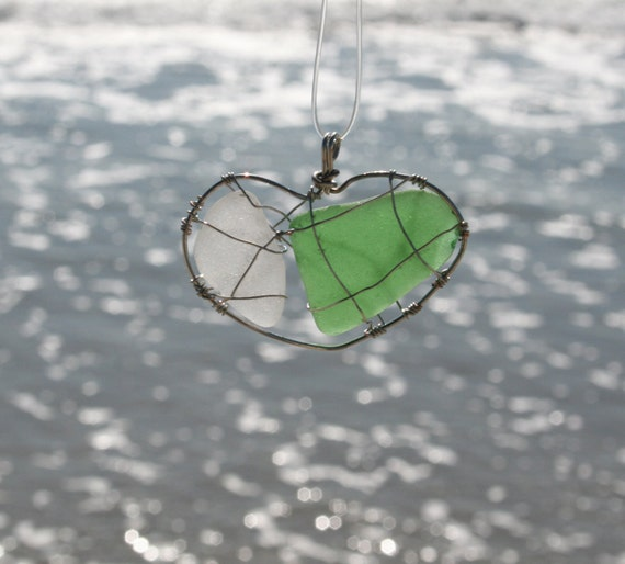 Sea Glass Caged Love Green and White Heart Necklace Beach Glass