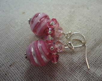 Sparkly Pink Swirl Venetian Glass Dangle Earrings