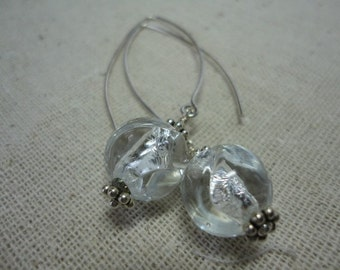 Silver Foil Murano Glass Earring