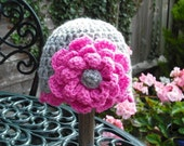 Baby Girl Crochet Beanie Hat Grey and Pink 0-6 months