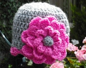 Baby Girl Crochet Beanie Hat Grey and Pink 6-12 months