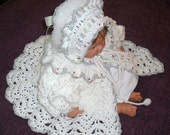 Order for reeldesire 0-6M White, Silver and Pink Reborn Doll/Baby Sweater,  Bonnet Hat and Booties