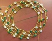 Vintage Swarovski Emerald Green Pierced Bar Rhinestone Chain 3mm (1) Foot