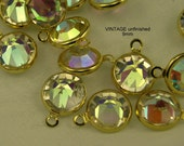 Vintage Swarovski Crystal AB Channels 9mm 22kt Gold Settings (4)