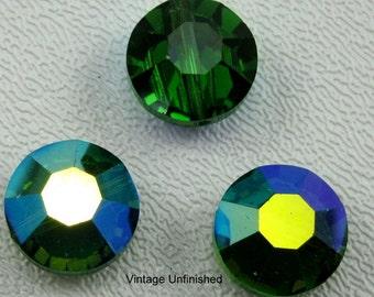 Vintage Swarovski Pill Bead 12mm Green Turmaline AB (2)