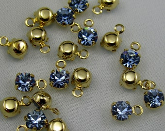 Vintage Swarovski Light Sapphire Blue 4mm Baby Drops (10)